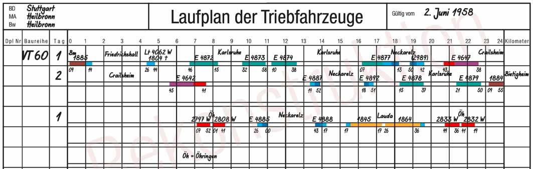Laufplan-Rekonstruktion VT 60 Bw Heilbronn Sommer 1958