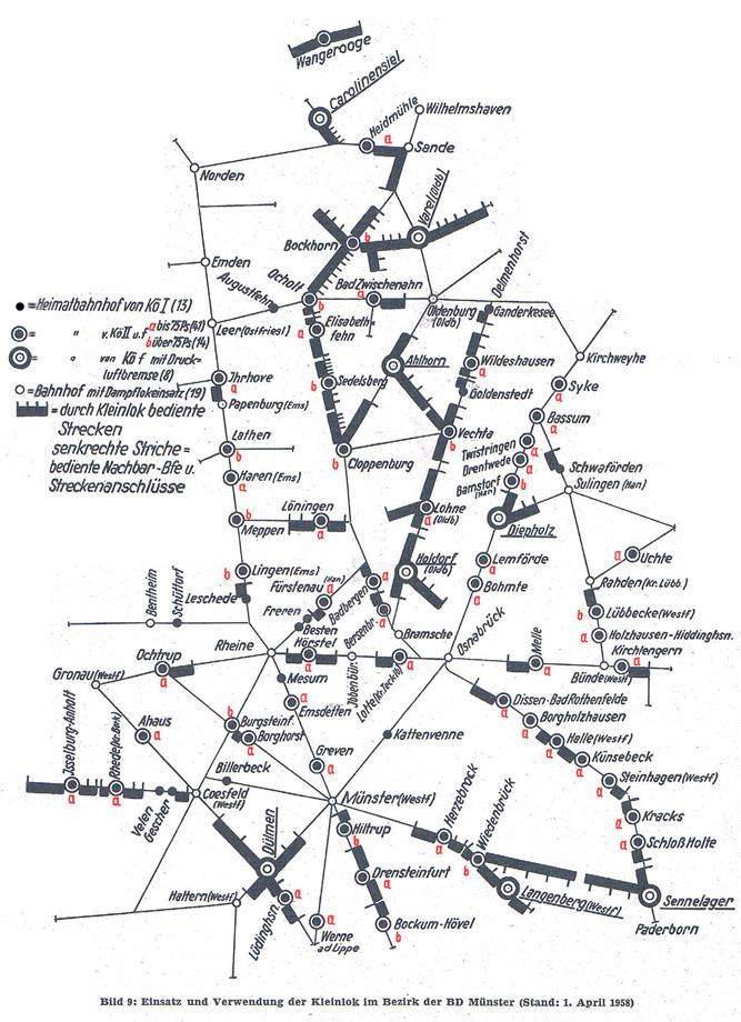 Karte mit Einsätzen der Kö und Köf in der BD Münster, Stand 1. April 1958; Quelle Deutsche Bundesbahn