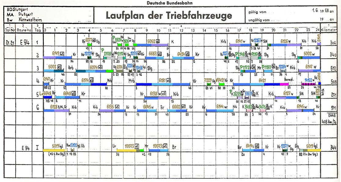 Laufplan 21 des Bw Kornwestheim für E 94 Sommer 1958